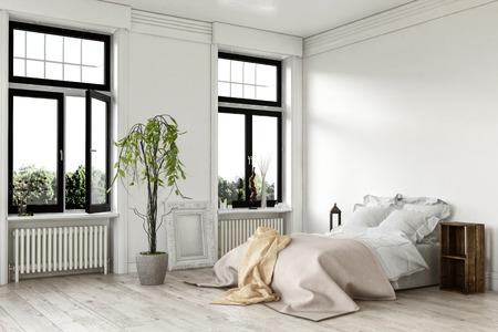 Luchtige helder wit slaapkamer interieur met grote dubbele ramen en een bed met kleedjes op een geschilderde hardhouten vloer met potplanten, 3D-gerenderde hoek view