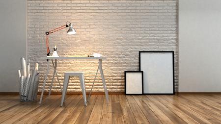 Moderne minimalistische studio of werkstation met een hoekpooslamp die een gestructureerde bakstenen muur verlicht over een tekenbord of schrijftafel met rollen plannen naast en blanco beeldkaders, 3d render Stockfoto