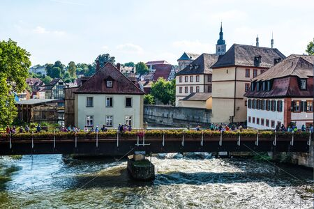 townhouses: River Regnitz in historic medieval city of Bamberg, Germany