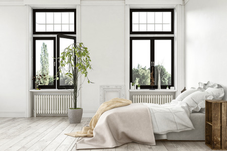 modern garden: Bright light modern luxury bedroom with tall windows overlooking a garden and monochrome white wood floor and walls, bed with rug throws in a 3d rendered interior Stock Photo