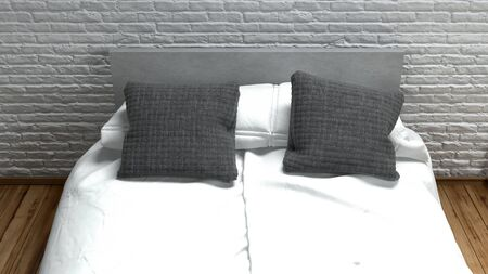 textured wall: Double bed with clean white linen and grey pillows on a matching headboard against a textured brick wall with rough finish, 3d background render Stock Photo