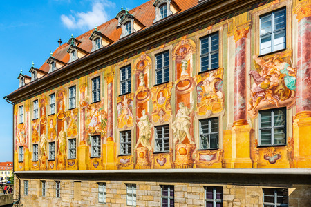 yellow walls: Detail of the historic yellow frescoes on the exterior walls of the Town Hall or Rathaus, Bamberg, Southern Franconia, Germany Stock Photo