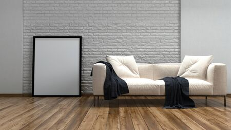 wall paintings: Comfortable cream couch and large rectangular blank picture frame against a textured rough finish white brick wall on a hardwood floor , low angle 3d rendered view Stock Photo