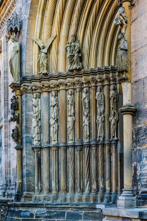 sides: Fuersten gate with the stone statues of Ecclesia and Synagoga flanking the arched portal in religious depictions of the Church and Synagogue on the Bamberg Cathedral, Bamberg, Germany