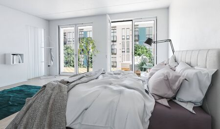 door opening: Bright airy modern luxury monochrome grey and white bedroom interior with messy bed in the foreground and large glass windows and door opening onto a garden, 3d render Stock Photo