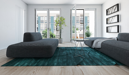 patio furniture: Low angle 3d render of a bright light apartment living room interior with large sofas on a blue green rug and windows overlooking high-rise buildings