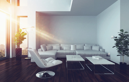 luxury house: Modern living room interior with oriel and oversized panorama windows and white couch lit with a sunbeam from aside. 3d Rendering