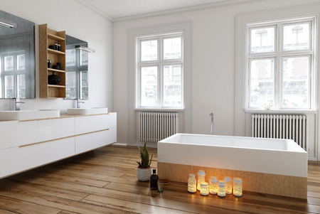 Group of burning candles on the wooden floor alongside the bathtub in a spacious bright white bathroom with large windows and wall-mounted vanities, 3d render