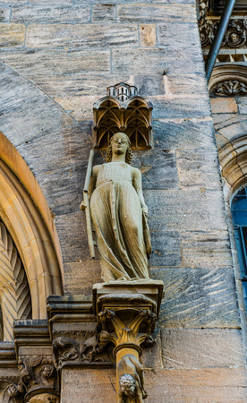 """synagoge: Statue of Synagoga at the Bamberg Cathedral. It is characterized by a blindfold over the eyes, symbolizing the """"blindness"""" of the synagogues, respectively Judaism."""