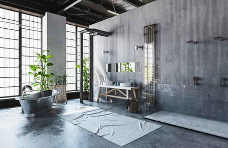 Modern industrial loft conversion into a hipster minimalist bathroom with vintage style metal roll-top bathtub and fresh green potted plants in front of bright windows, 3d render