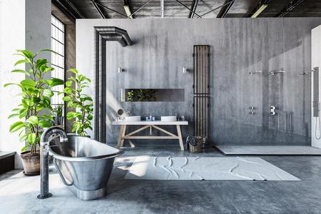 流行に敏感な金属ロール トップ バスタブと背の高い窓、3 d の前に大きな新鮮なグリーン鉢植え変換された工業用ロフトの硬直した灰色バスルーム