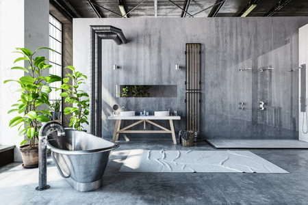 Stark grey bathroom interior of a converted industrial loft with a hipster metal roll top bathtub and large fresh green potted plants in front of tall windows, 3d render