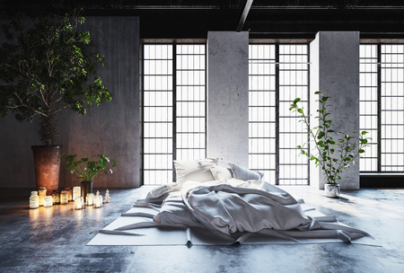 rumpled: Rumpled unmade bed in a romantic modern bedroom with glowing candles on the floor and a large potted tree in front of tall feature windows, 3d render Stock Photo