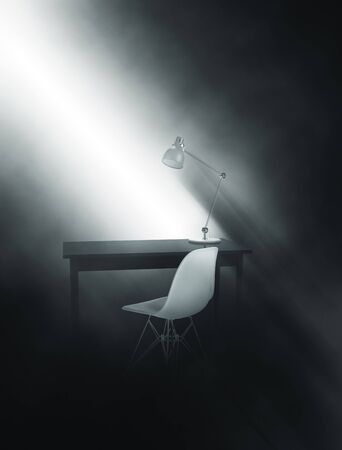 molded: Shaft of sunlight falling penetrating the gloom illuminating a writing table with anglepoise lamp and molded modern chair throwing eerie shadows on the wall, 3d, render with copy space