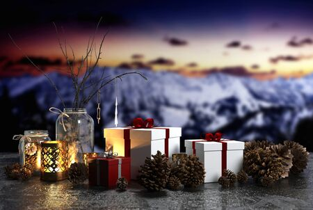 colourful sky: Welcoming candlelit Christmas still life with burning lanterns , pine cones and decorative gifts against a colourful sunset over snow clad mountains, copy space in the sky. 3d Rendering.