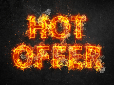 fiery font: Hot Offer promotional poster with fiery font and letters engulfed in orange flames and showers of sparks over a dark background
