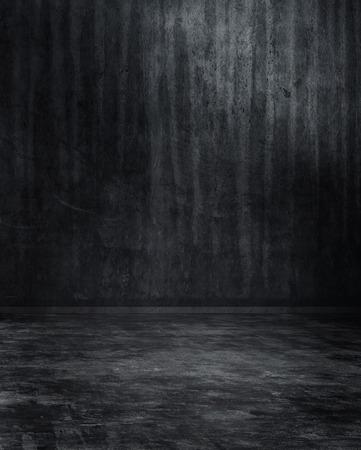 Grunge grigio scuro con texture stanza spoglia sfondo interno con parete striata e pavimento in toni cupi, rendering 3d
