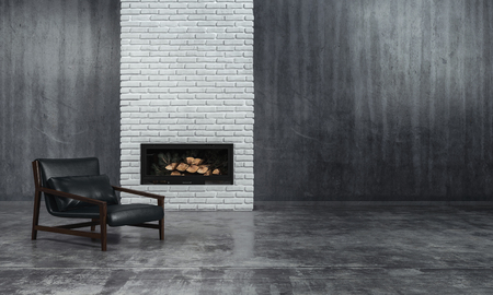 Minimalist monochrome living room interior with grey decor and a low slung leather recliner chair in front of an unlit fire in an inset in a textured brick feature wall, 3d render