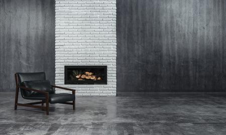 Minimalistische zwart-wit woonkamer interieur met grijs interieur en een lage gedrongen lederen fauteuil stoel voor een onverlichte brand in een inzet in een textuur bakstenen muur functie, 3D render Stockfoto