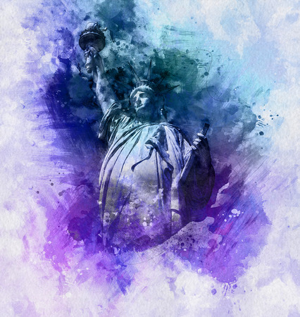 dignity: Colorful artistic watercolor painting of the Statue of Liberty in tones of blue and purple with brushstrokes depicting the upper portion of the statue