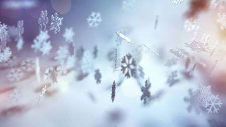 ethereal: Ethereal Christmas background with falling snowflakes in assorted decorative patterns on a misty atmospheric winter landscape