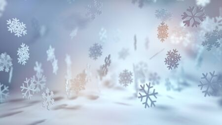 wintry: Festive cool toned Christmas snowflake background with falling snow in a wintry landscape and colorful sun flare i a wide angle banner format Stock Photo