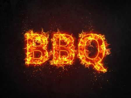 Burning BBQ sign with flaming letters and showers of fiery sparks over a black background with copy space