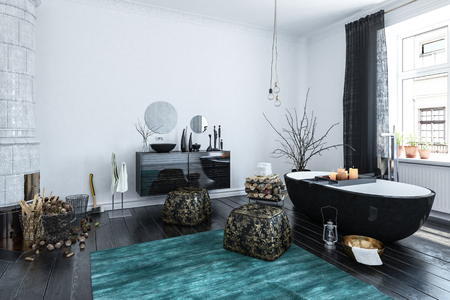 room decor: Modern designer bathroom interior with black decor and an Oriental style finish in a large room lit by daylight from large windows, 3d render
