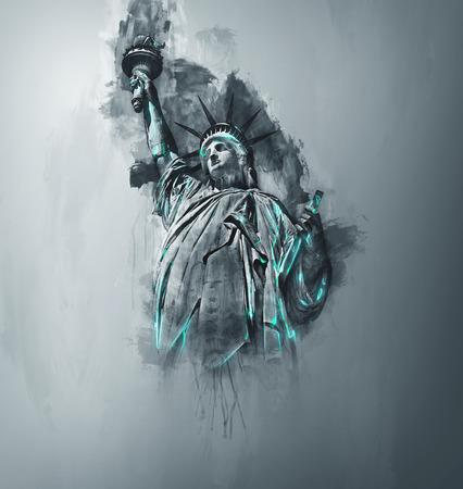Künstlerisches Reisepostkartendesign des Freiheitsstatuen, NY auf einem grauen Steigungshintergrund mit Wasserfarbbürstenanschlägen und grüne Höhepunkte mit Kopienraum, 3d übertragen Standard-Bild - 70005521