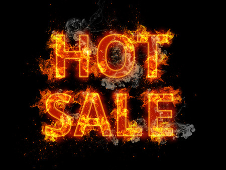 burning: Blazing Hot Sale design template with flaming fiery orange letters and incendiary sparks on a black background for promotional advertising