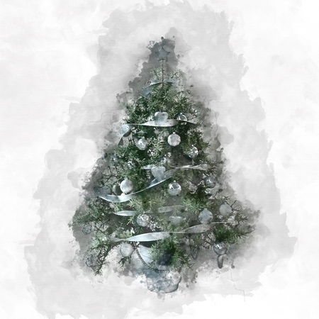 textured effect: Christmas card with decorated natural evergreen tree and paint effect brush strokes as a surround on textured paper with copy space