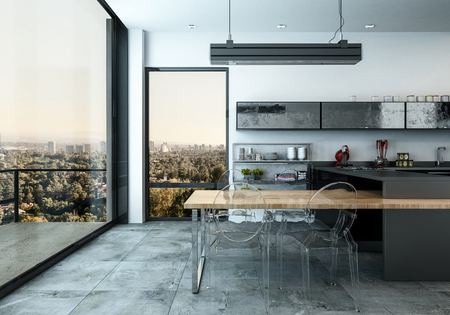 Spacious modern open plan fitted kitchen with glass door leading to an external patio overlooking the city, 3d render