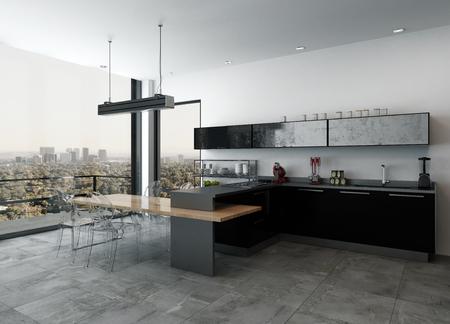 오픈 계획에 세련 된 현대 부엌 거실 블랙 옻 칠한 캐비닛 및 바 카운터를 내려다 보이는 야외 테라스와 도시를 통해 바닥 천장 windows, 3d 렌더링 거실  스톡 콘텐츠