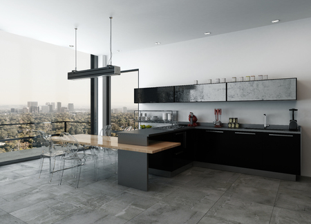 Stylish modern kitchenette in a open plan living room interior with black lacquered cabinets and bar counter overlooking an outdoor patio and cityscape through floor to ceiling windows, 3d render