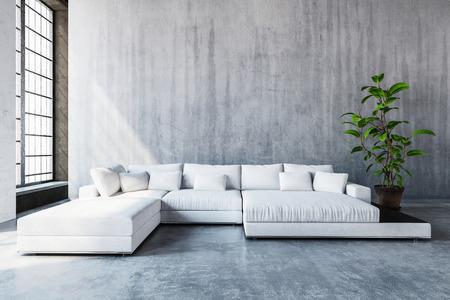 Blanco sofá-cama sofá modular moderno y elegante con cojines en un amplio salón con grandes ventanales y una decoración de color gris blanco y negro, 3d Foto de archivo - 69974808