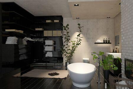 Grande interni bagno moderno con cabina armadio e zona spogliatoio e un indipendente barca vasca a forma di piante d'appartamento, rendering 3d
