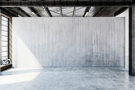 Rendu 3D d'une salle de style industriel ou urbain avec sol en béton clair et grand mur blanc avec espace de copie