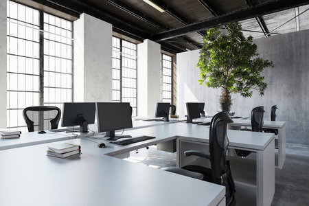 styled interior: Empty desks with monitors near huge windows and green tree against cement wall. 3d Rendering. Stock Photo