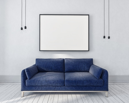 artwork: Blue couch in a monochrome grey room with large rectangular picture frame above and hanging light bulbs on either side, interior. 3d rendering