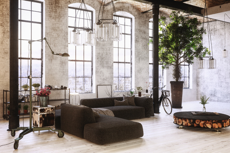 Large spacious converted industrial loft interior with tall arched windows, sofas , a potted tree, chandeliers, bicycle and double volume height, 3d rendering Stock Photo