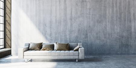 키가 큰 창 옆에 넓은 빈 벽에 콘크리트 바닥에 큰 소파의 3D 렌더링. 측면에서 스트리밍 햇빛.