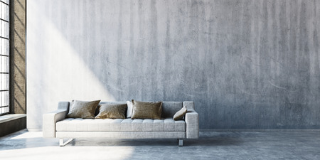 3D render of large sofa on concrete floor with wide blank wall beside tall window. Sunlight streaming in from side.