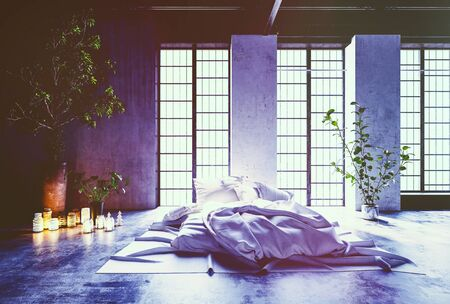 decoration messy: 3d Rendering of Modern Open Concept Asian Inspired Bedroom with Large Windows, Lit Glowing Candles and Bedding