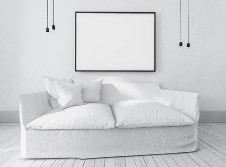 inter: Large comfortable white couch or day bed below a large empty picture frame with copy space in an airy bright monochromatic room, inter decor. 3d rendering