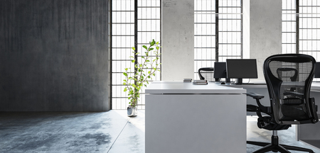 Office workspace in clean minimalist interior style, room with high windows, green plant and concrete floor and wall with copy space. 3d Rendering.