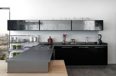kitchenette: Stylish modern kitchenette with black cabinets and modern small appliances in a large open plan living area with view window, 3d render