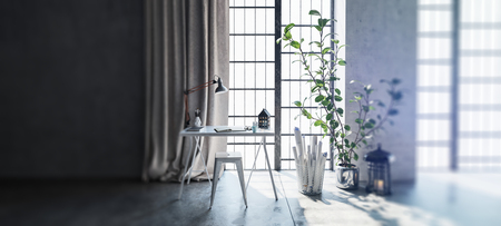 modern apartment: Wide angle view of desk and stool next to houseplant by windows in modern apartment with sunlight