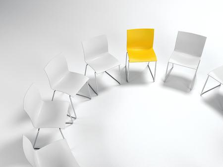 多様性、リーダーシップ、あるいは白いものは円形に配置単一黄色い椅子のある個性概念は、コピー領域と白で高角度を表示しました。3 d レンダリ