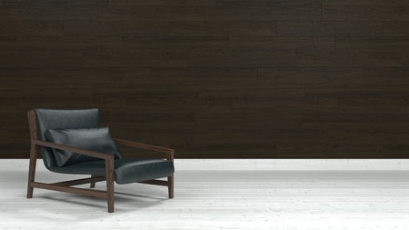 low floor: Low lounge armchair of wood and black leather on white floor against brown wooden wall with copy space. 3d Rendering.