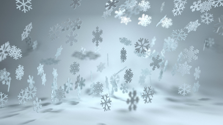 christmas backgrounds: Falling snowflakes with a variety of different patterns in a misty winter landscape for a decorative Christmas background in panoramic format Stock Photo